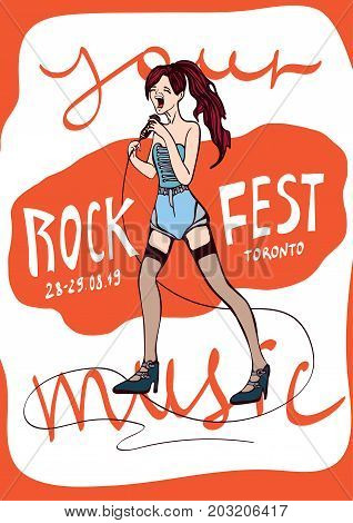 Poster template for rock music festival or karaoke party. Young Girl singing in microphone. Vector illustration.