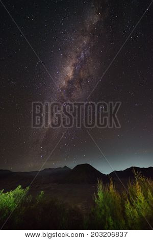 Milky Way rises above Mount. Bromo,tengger semaru national park East java Indonasia
