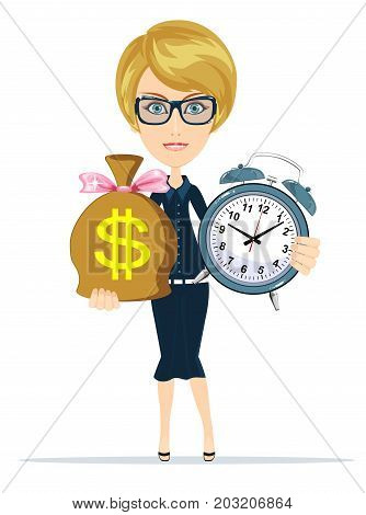 Time is money. Time management concept. woman holding a watch and money. Stock flat vector illustration.