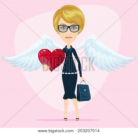 cute angel valentine greeting card. Stock flat vector illustration.