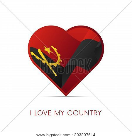 Angola flag in heart. I love my country. sign. Vector illustration.