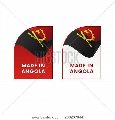 Stickers Made in Angola. Waving flag. Vector illustration.