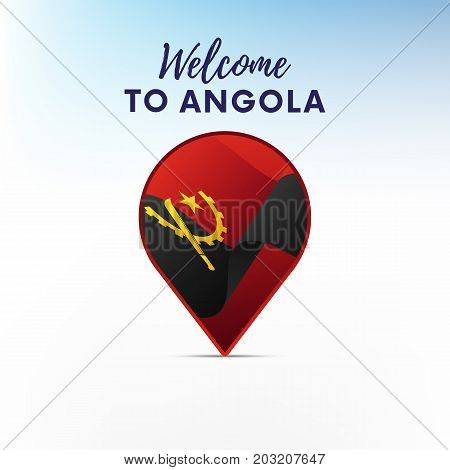 Flag of Angola in shape of map pointer or marker. Welcome to Angola. Vector illustration.