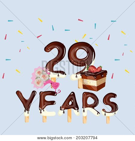 Happy birthday card with number twenty nine. Vector illustration