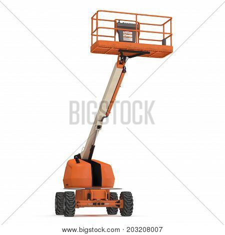 Orange self propelled articulated wheeled lift with telescoping boom and basket on white background. 3D illustration