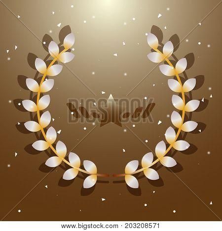 Imagination flora laurel wreath on brown background stock vector