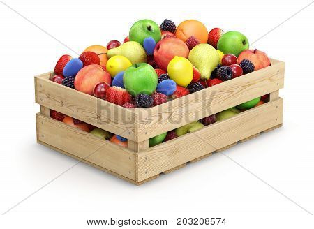 Fruits in wooden crate on white background - 3D illustration