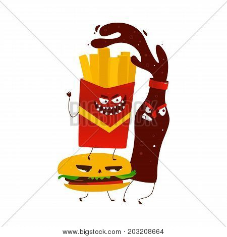 vector flat cartoon angry fastfood monsters. Isolated illustration on a white background. Funny cola, potato fry and burger chasing for victim with frightening faces.
