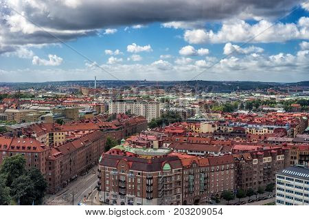 Goteborg Sweden - July 2017: Gothenburg city overview from the ferris wheel