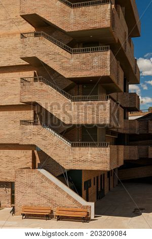 Architectural composition of brick stairsArchitectural composition. Architectural abstraction.