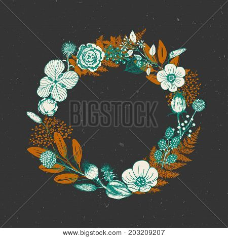 Vector wreath of autumn leaves and fruit in sketch style. Beautiful round wreath of green and orange leaves, berries and branches. Decor for invitations, greeting cards, posters.