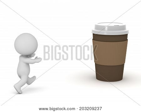 3D character running toward a paper coffee cup. Isolated on white background.