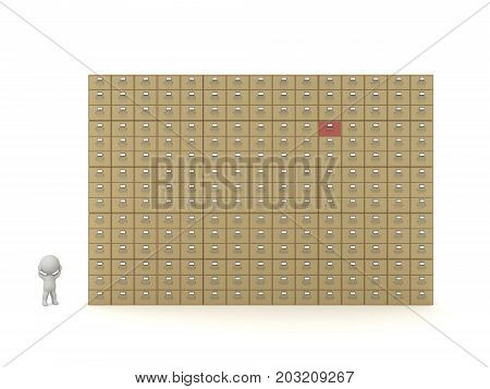 Small 3D character and a large archive cabinet. Isolated on white background.