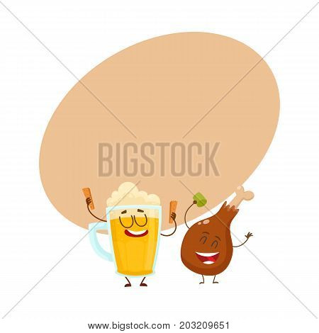 Funny beer mug and fried chicken leg characters having fun, cartoon vector illustration with space for text. Funny smiling beer mug and chicken leg, drumstick having party together