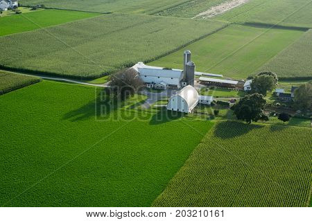 An aerial view of farmland in Lancaster County Pennsylvania.