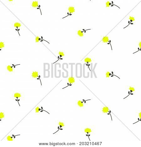 Cute yellow dandelion flowers seamless vector pattern. Bright yellow on white colors repeat nature background for print.