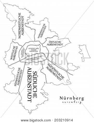 Modern City Map - Nuremberg City Of Germany With Boroughs And Titles De Outline Map