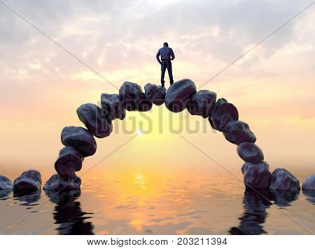 man stands on top of a stone bridge, 3d illustration