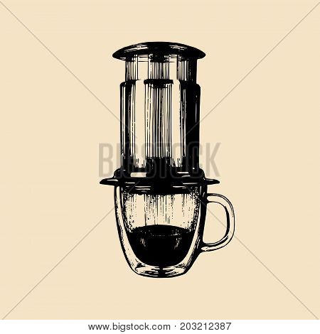 Vector alternative coffeemaker illustration. Hand sketched device for espresso brewing. Cafe, restaurant menu design concept.