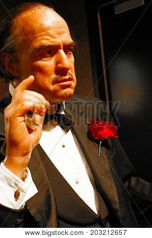 LOS ANGELES, CA - 28 Oct, 2013: Marlon Brando waxwork figure - Madame Tussauds Hollywood.