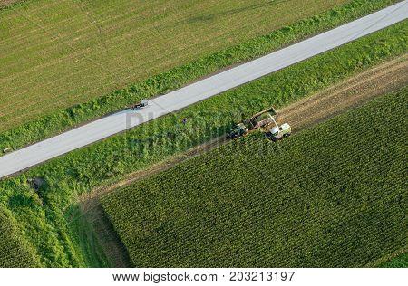 Harvesting Corn Aerial View