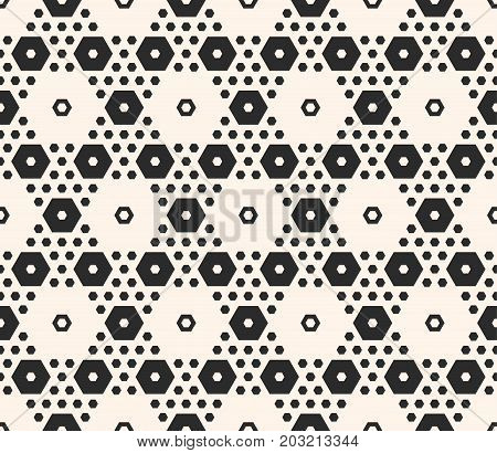 Simple geometric background texture with big and small hexagons in hexagonal grid. Abstract modern seamless pattern. Monochrome repeat illustration. Design for tileable print, decor, textile, cloth.