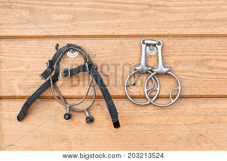 Steel horse snaffle-bit and spurs hanging on wooden background. Outdoors close-up image.
