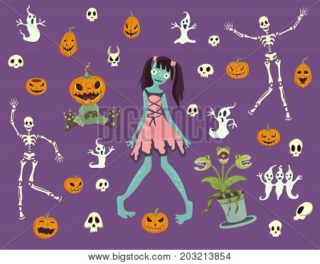 Halloween set. Girl zombies, skeletons, skulls, pumpkins and other Halloween characters. Vector isolated illustration