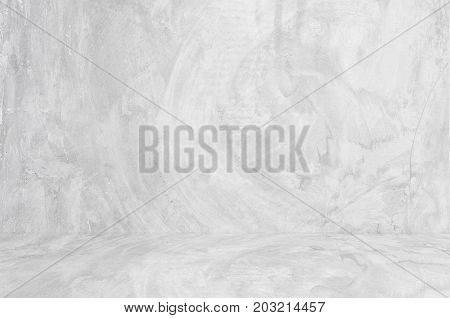 Empty perspective white cement room background banner interior design product display montage mock up background