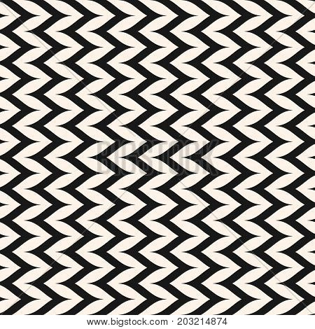 Herringbone pattern. Vector seamless pattern, curly zig zag lines. Simple vertical zigzag striped texture. Abstract monochrome background, pop art style. Repeat design for prints, decor, fabric, furniture, covers, cloth.