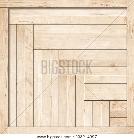 Side of light brown wooden crate, box or frame
