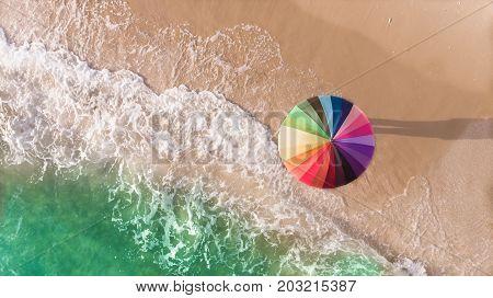 Colorful Of Umbrella On The Seaside Beach.