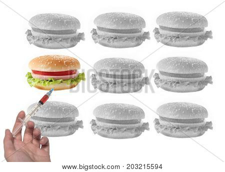 Altered sandwich with syringe among other black and white sandwiches