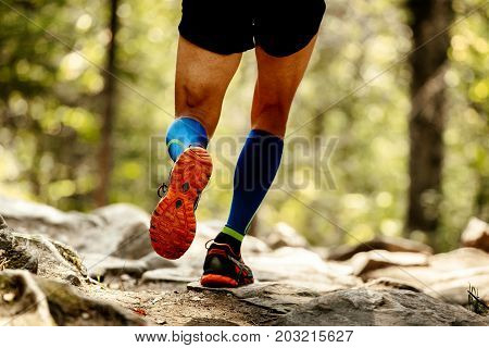 sole running shoes feet man and compression socks