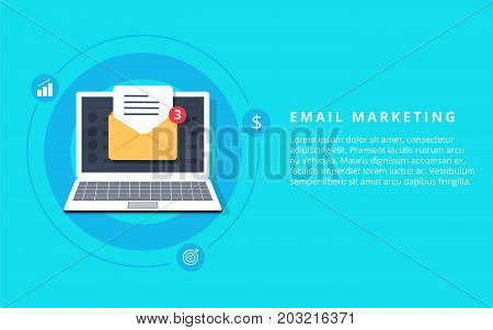 Flat vector for email marketing newsletter marketing email subscription and drip campaign with icons on blue background poster