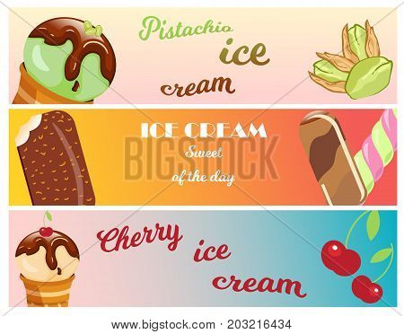 Collection of ice cream banners sweet dessert cold food cards vector illustrations. Tasty creamy snack dairy waffle flavor cold ice-cream frozen scoop. Soft delicious milk icecream ball.