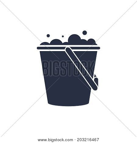 Bucket of water icon vector isolated pail or bucketful with foam and bubbles. Gardening equipment tool isolated on white.