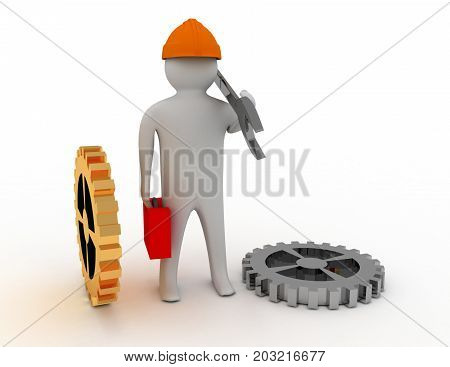 Man with wrench . 3d rendered illustration