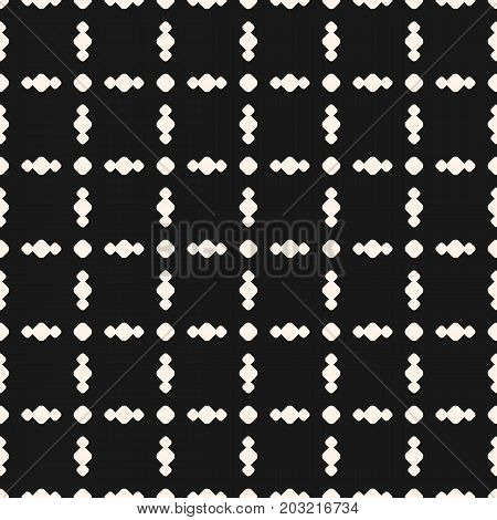 Vector geometric ornament pattern with circles in square grid. Simple seamless texture, perforated surface. Abstract monochrome background, repeat tiles. Design for decor, fabric, covers, digital, web.
