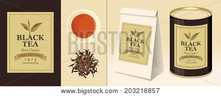 Vector banner and label for black tea with the image of a tea leaf on the twig and the inscription. Tea Cup pinch of welding 3D paper pack and a tin can of tea with this label