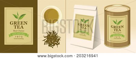 Vector banner and label for green tea with the image of a tea leaf on the twig and the inscription. Tea Cup pinch of welding 3D paper pack and a tin can of tea with this label
