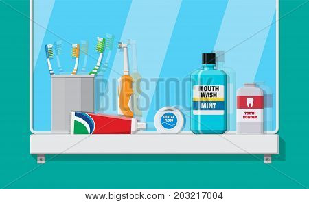Bathroom mirror and dental cleaning tools. Oral care and hygiene products. Toothbrush, toothpaste, mouthwash, powder, tongue scraper and dental floss. Brushing teeth. Vector illustration in flat style