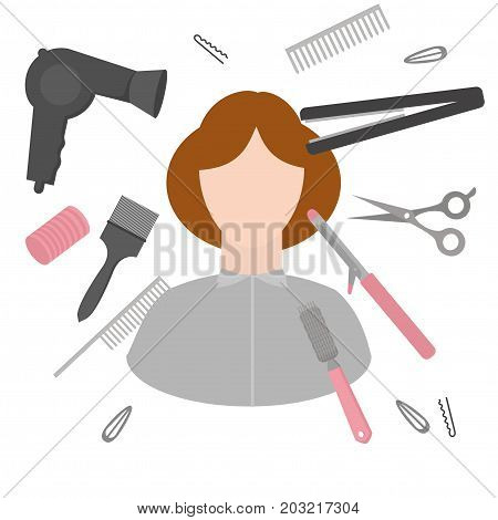 Flat design elements of hairdresser. Set with beauty haircut accessories and equipment. Haircut salon Instrument isolated with woman. Scissors brushes and devices