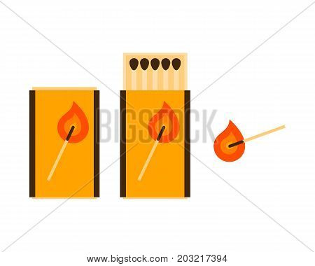Match, matches in a box. Vector illustration.