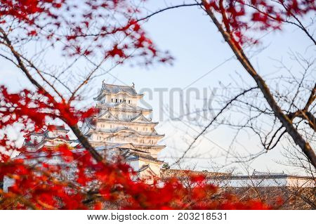 HIMEJI-JAPAN, DECEMBER 4, 2016 : Himeji Castle also called White Heron Castle in autumn season Japan.