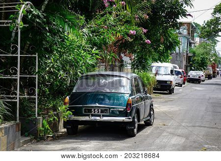 Cars Parking On Street In Mahebourg Mauritius