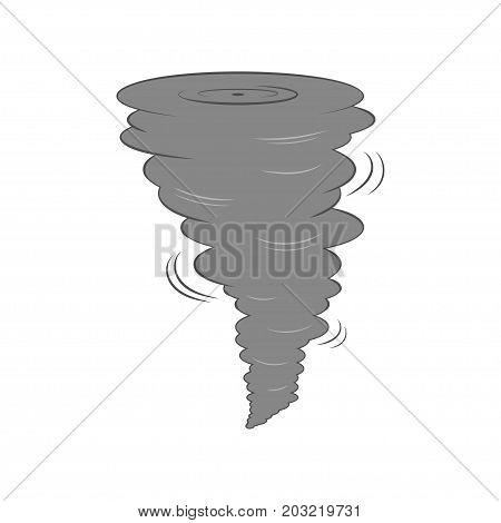 Cartoon dark tornado swirl. Isolated on white background. Vector illustration.