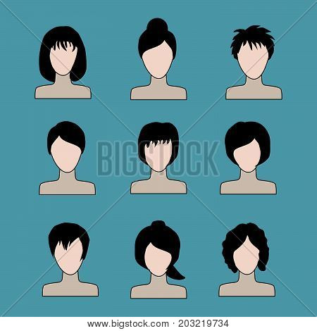 collection of icons of woman in a flat style. female avatars. set of images of young women. vector illustration.