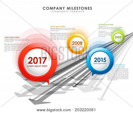 Infographic company milestones timeline vector template with arrows.