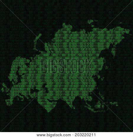 Illustration of silhouette of Eurasia from binary digits on background of binary digits
